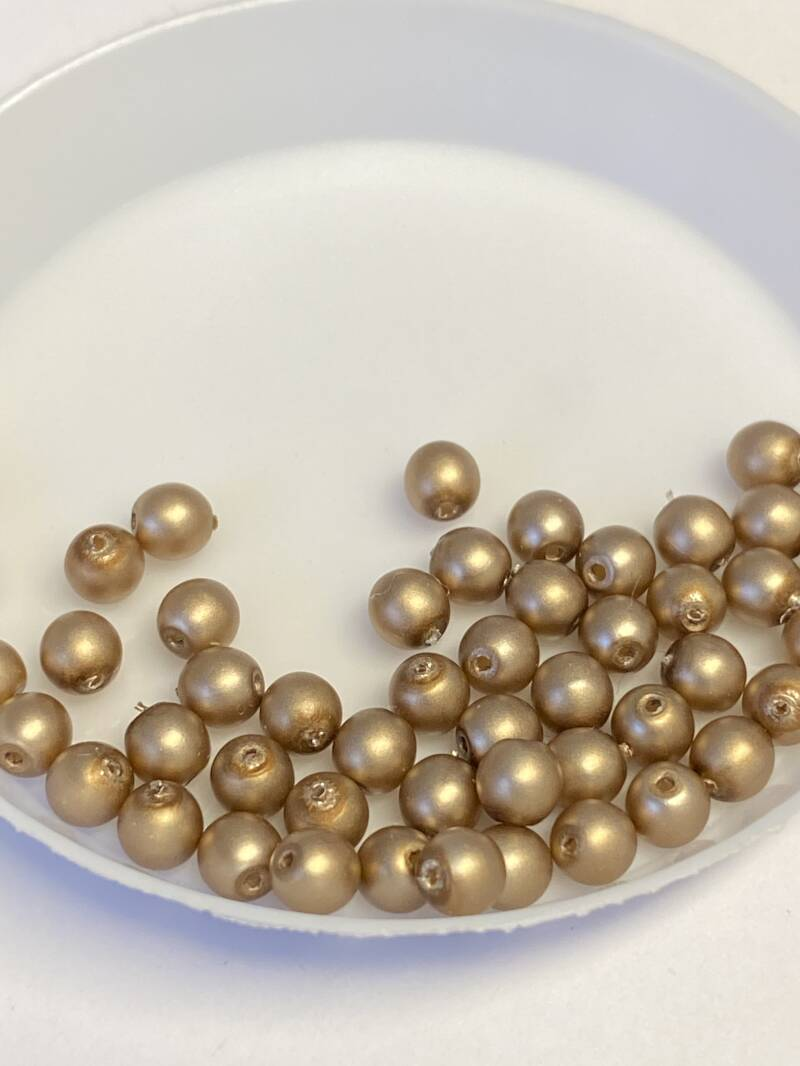 Round Beads Glass 4mm Taupe Satin