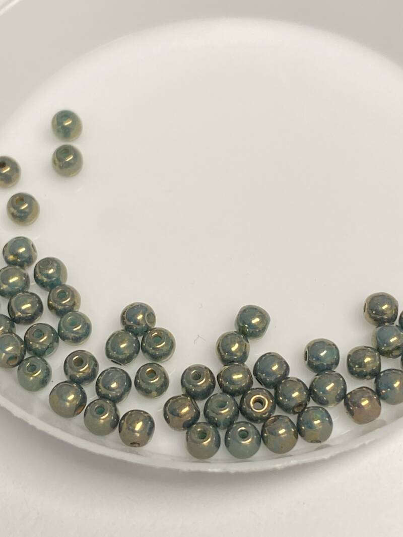 Round Beads Glass 3mm Gold Topaz Turquoise Luster