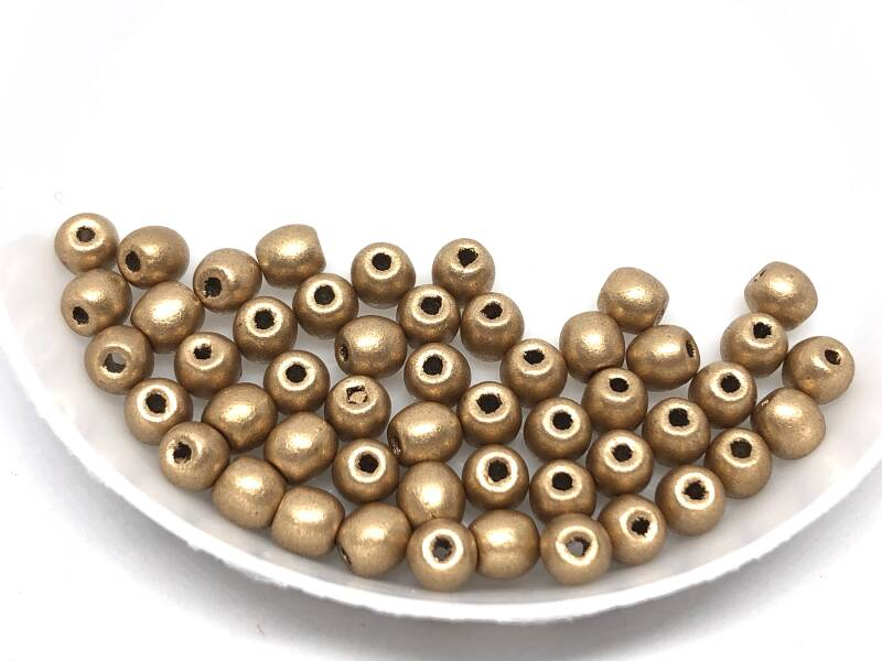 Round Beads Glass 4mm Aztec Gold