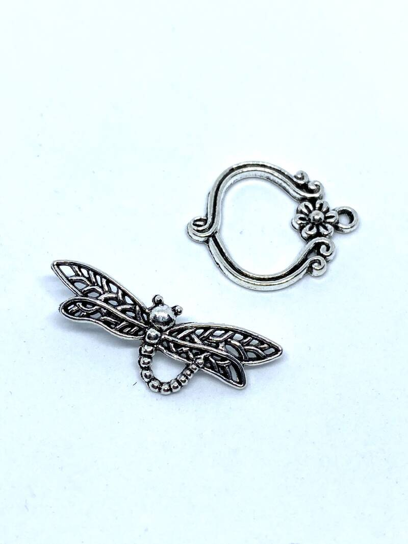 Toggle Clasp Dragonfly 33x13mm Silver Tone