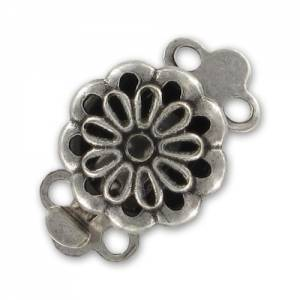 2 strands clasp 14x9mm Old Silver tone