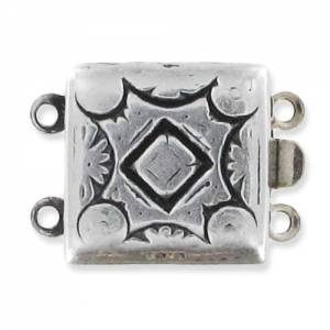 2 strand square shaped clasp 14mm antique silver tone