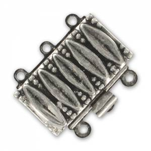 3 strands clasp 19x15mm Old Silver tone