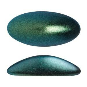 Athos 3D by Puca® oval glass cabochon 20x10 mm / Green Turquoise Metallic Mat