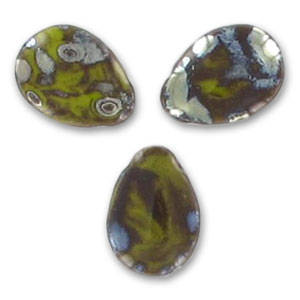 Side Drilled Drop (flat) 12x16 Opaque Olivine Picasso