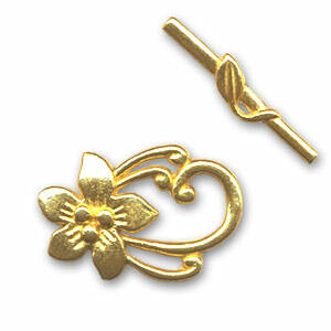 Toggle clasp Flower 30x20mm Gold tone