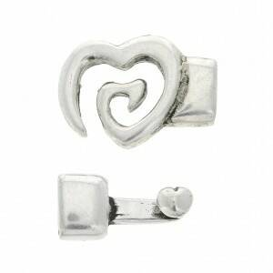 Hook and Eye Heart Clasp 10mm Old Silver Tone