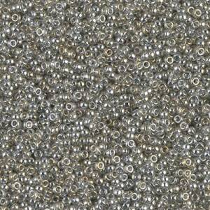 Seedbeads 15/0  Transparent Silver Gray Gold Luster 1881