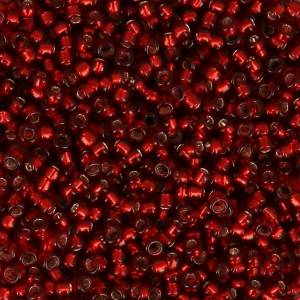 Seedbeads 15/0 Silver Lined Brick Red 1420