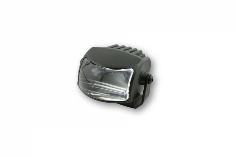 LED dipped beam headlight COMET-LOW with black aluminium housing and holder, E-tested.