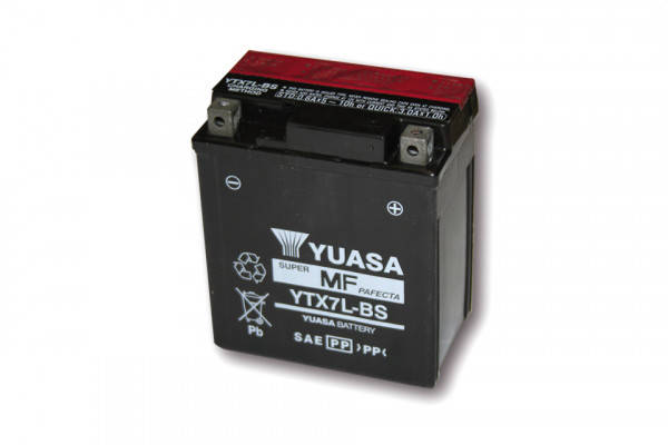 YUASA Battery YTX 7L-BS maintenance-free (AGM) incl. acid pack