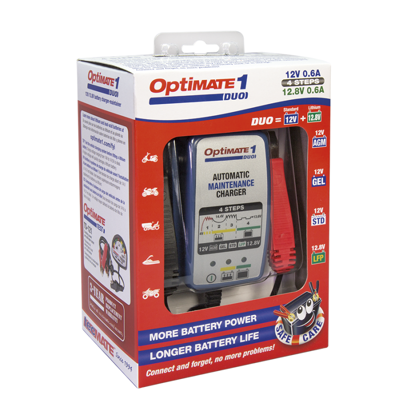 OptiMATE 1 DUO 4-staps 12 V / 12.8 V- 0,6 A-acculader-onderhouder