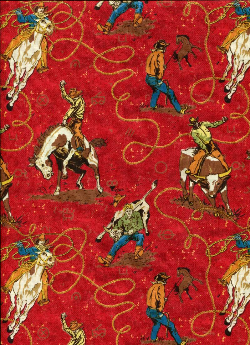 Animals cowboys on red