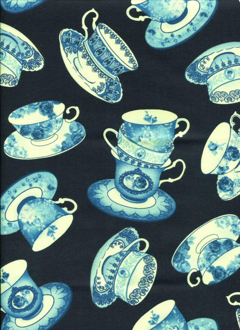 Blue and white after tea cups