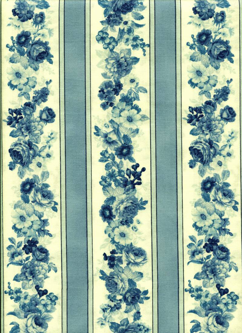 Blue and white flowers in a row