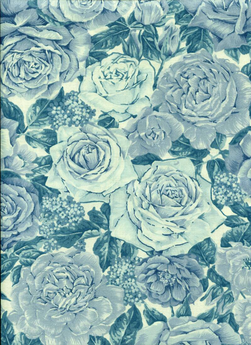 Blue and white roses in blue