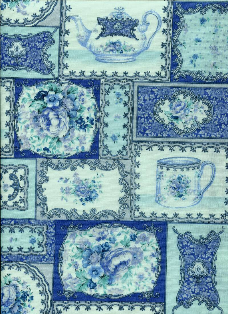 Blue and white tea for four