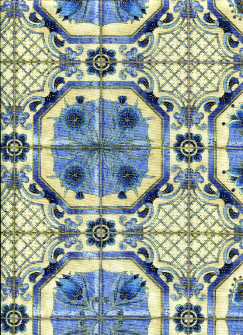 Blue and white tiles with metallic