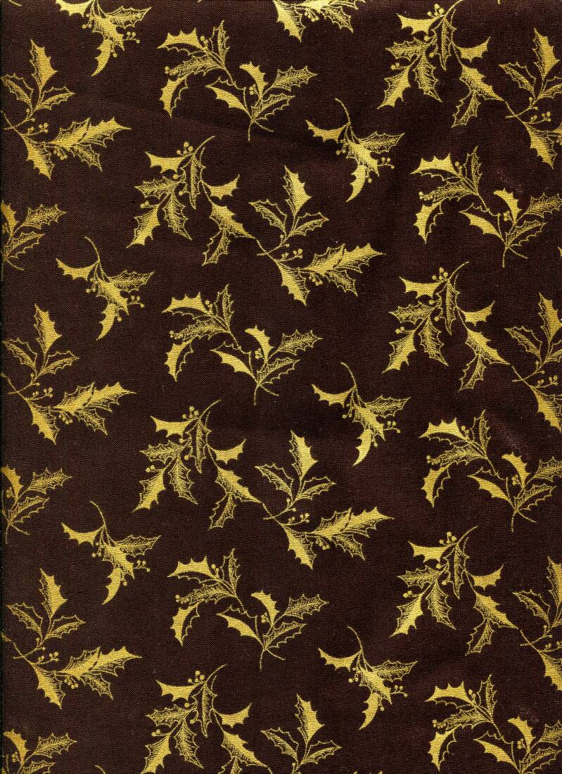 Christmas golden holly on black with metallic
