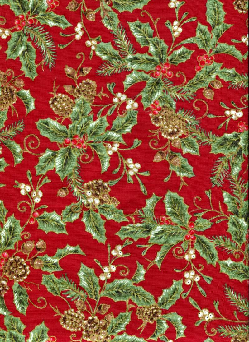Christmas holly on red with gold