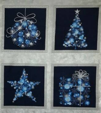 Christmas panel trees  with silver on blue 55x60cm
