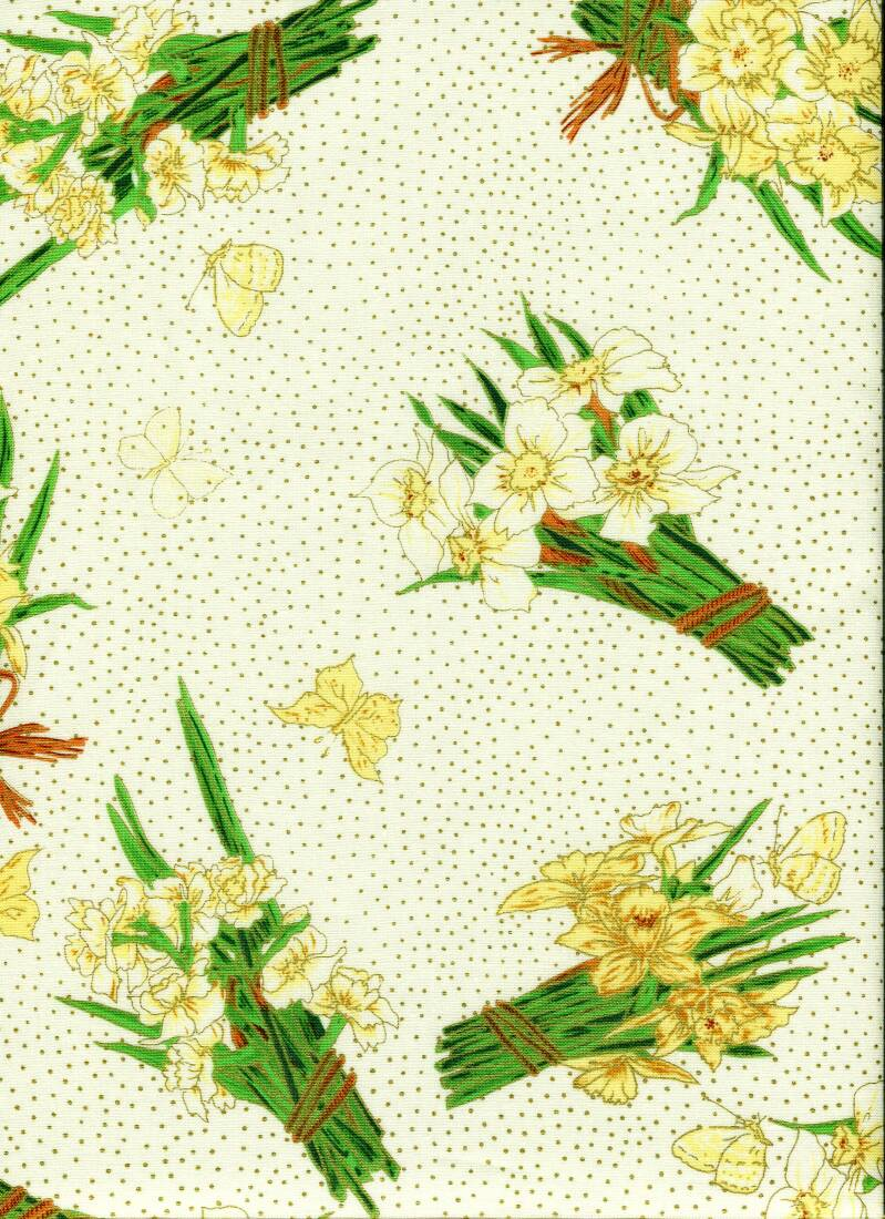 Flowers daffodils on white with metallic