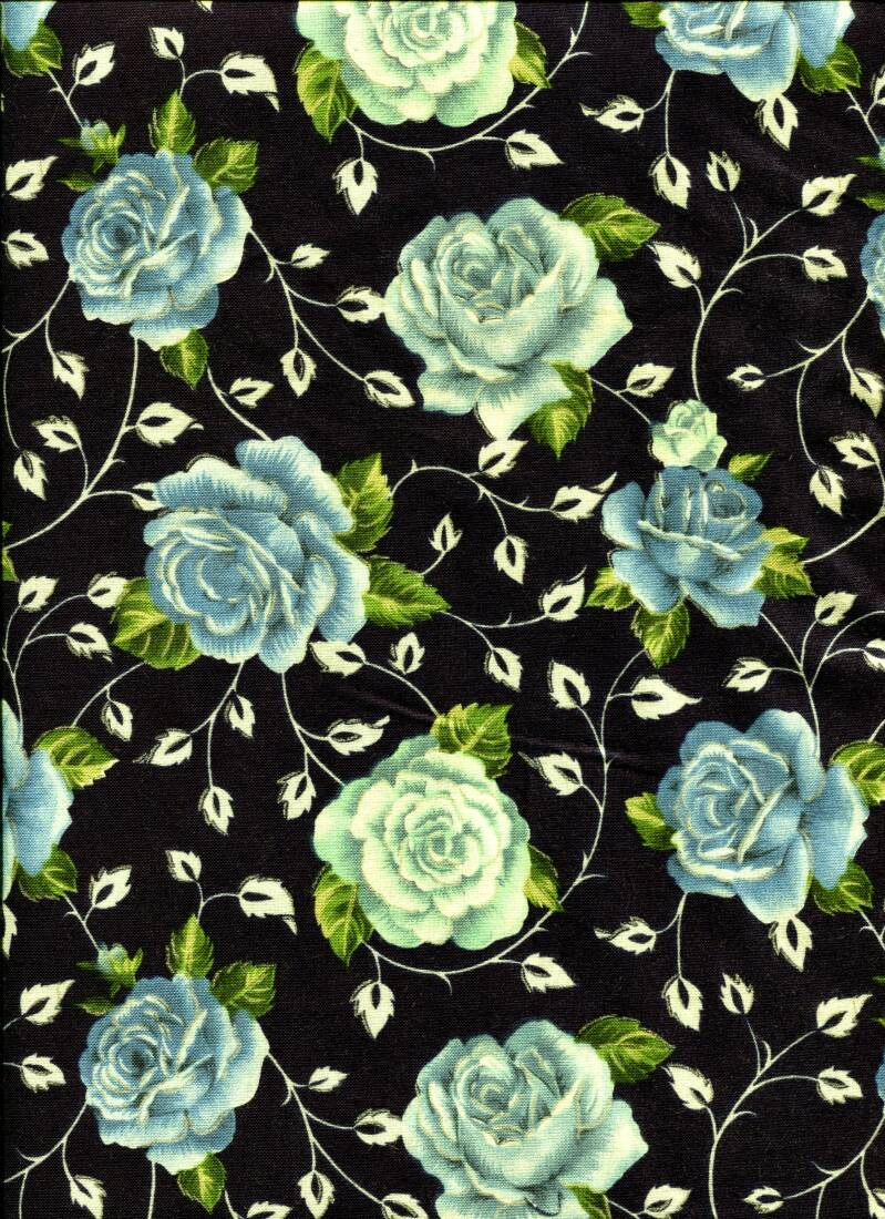 Flowers roses blue all over with silver
