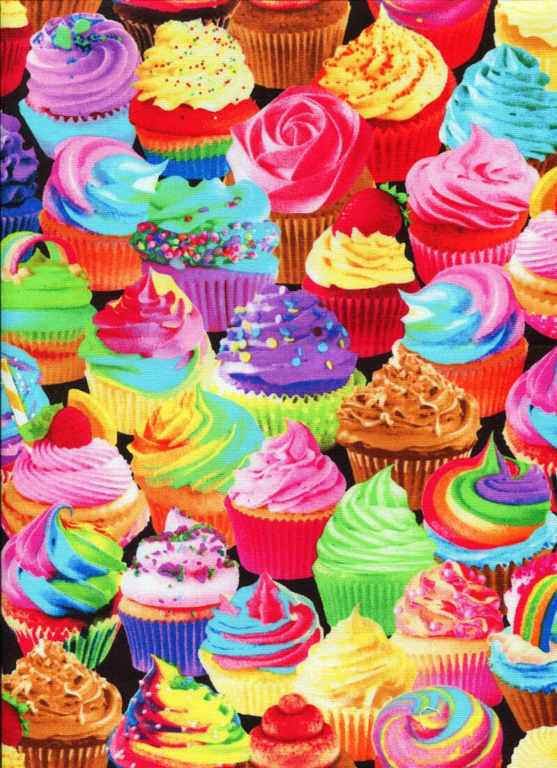 Food cupcakes all over bright