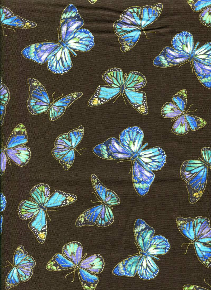 Insects Butterflieson black with metallic