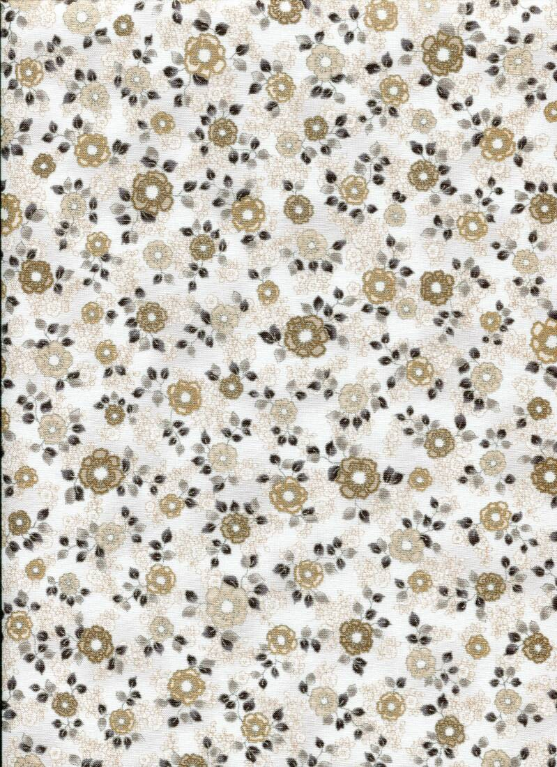 Japanese flowers on white with metallic