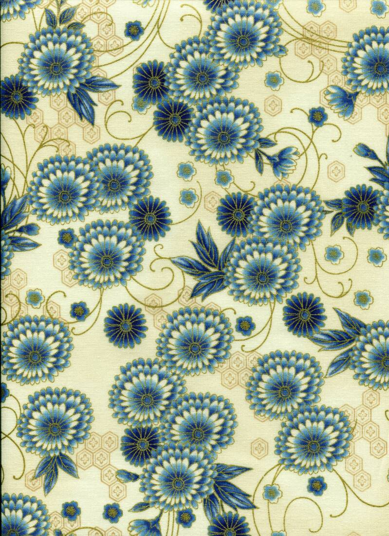 Japanese roses blue small with metallic