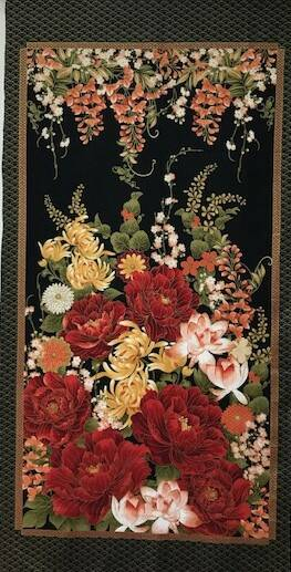 Japanese yellow red flower panel  60 x 110 cm