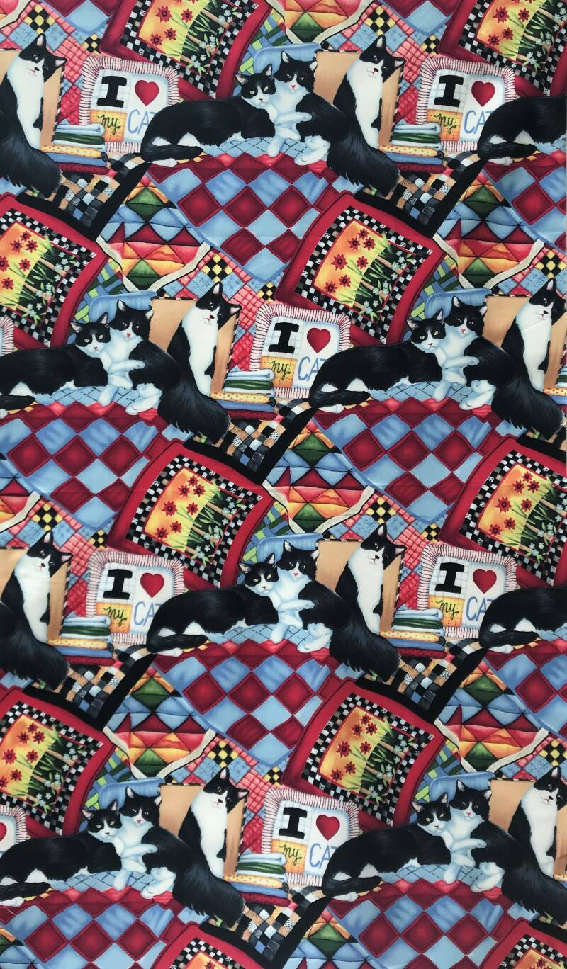 Cats and dogs quilt and cats Panel 65x110cm
