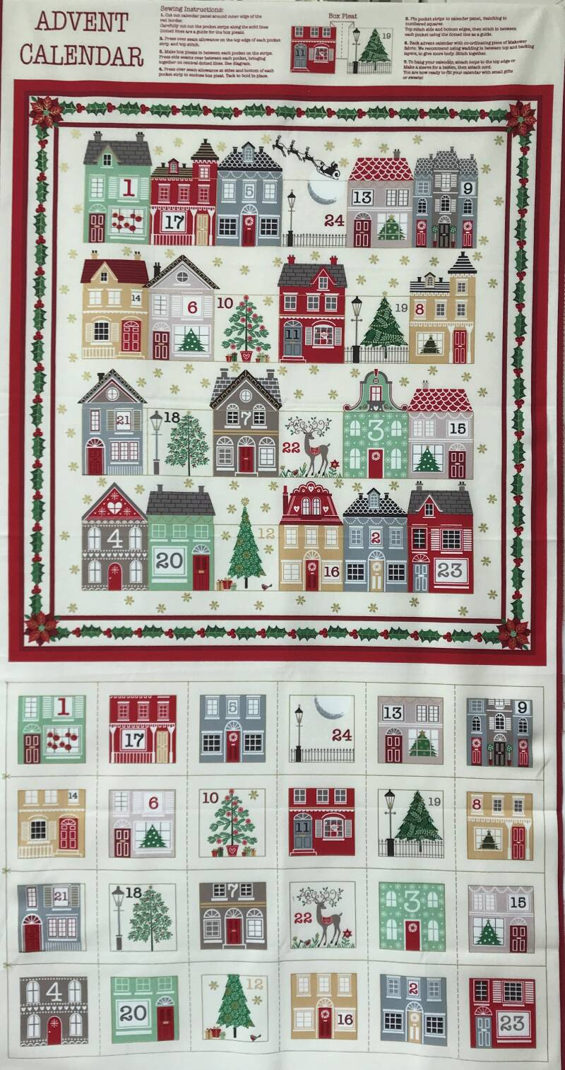 Christmas panel advent calender little houses 60 x 110 cm
