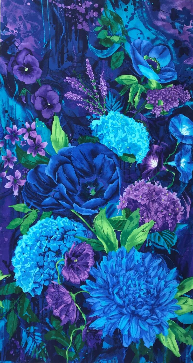 Flowers midnight flowers Panel 60x110cm