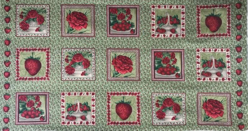 Flowers panel red carnations on green 60 x 110 cm