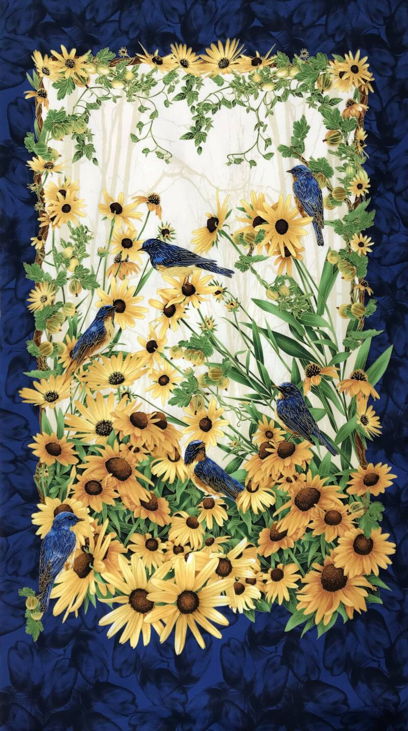 Flowers panel sunflowers with birds 60 x 110 cm