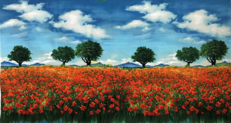 Nature poppy field Panel 60x110cm
