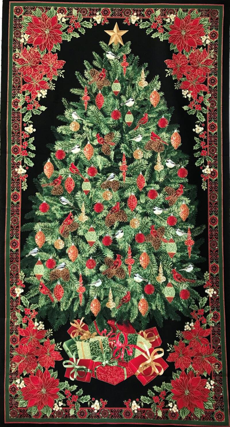 Christmas panel christmas tree with metallic 60x110cm
