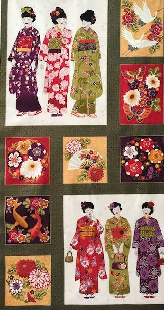 Japanese panel geishas in squares