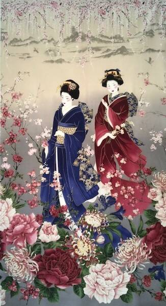 Japanese panel geishas red and blue with metallic