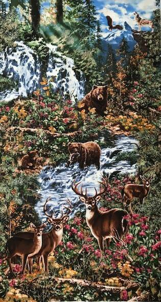 Nature  waterfall and bears Panel 60x110cm
