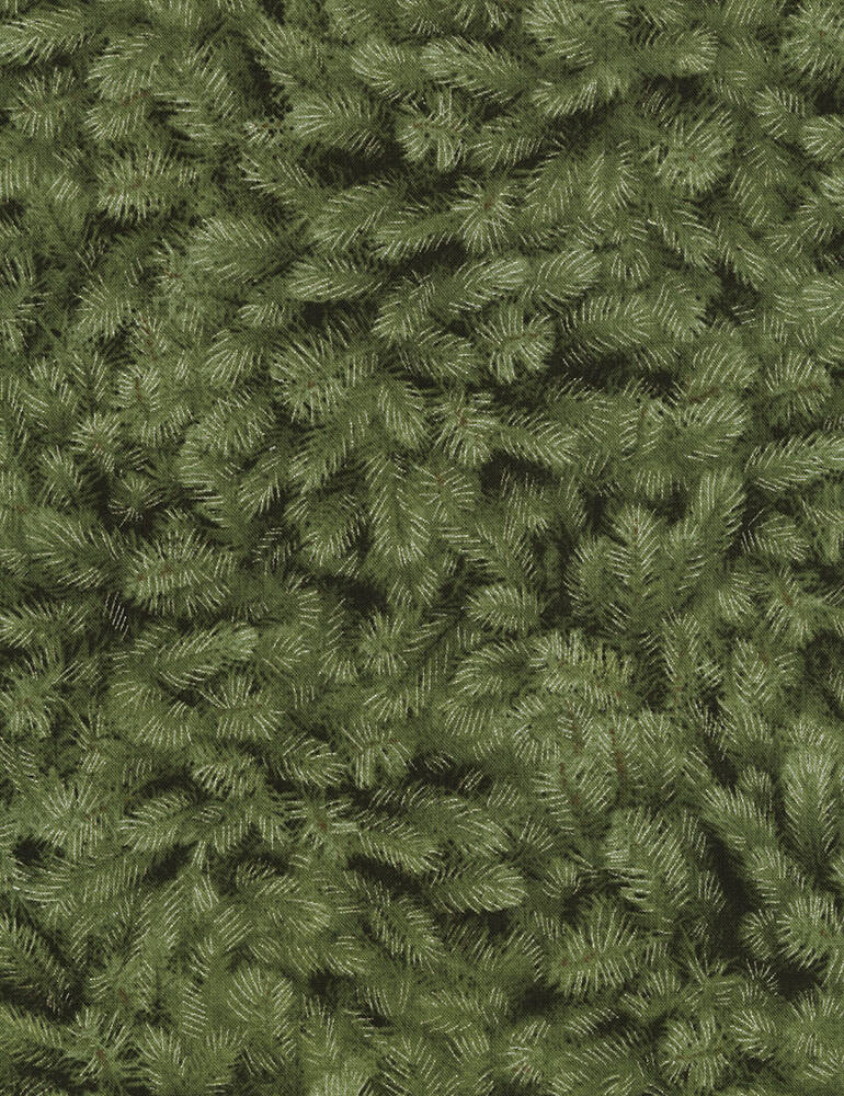 Nature Pine Needles-Holiday-CM5168-Green with silver metallic