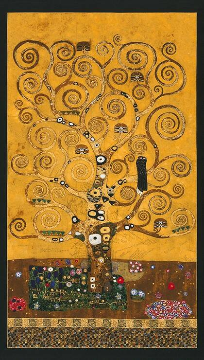 Art Gustav Klimt metallic - SRKM-17180-133 GOLD panel 60x110 cm