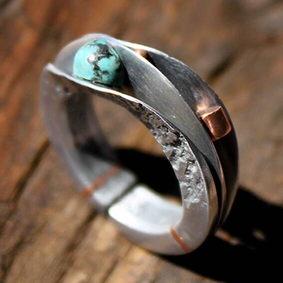 Ring turquoise parel