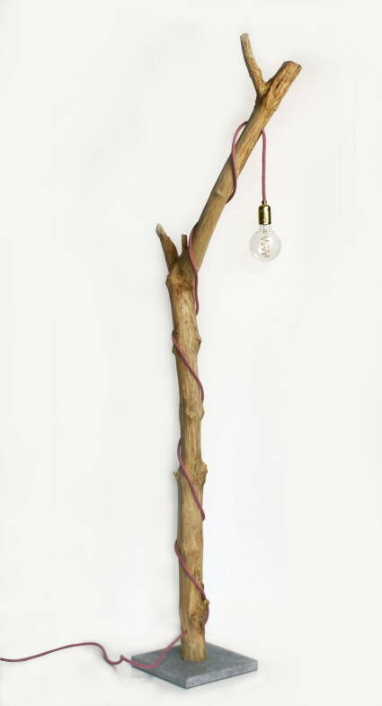 Wooden lamp pink