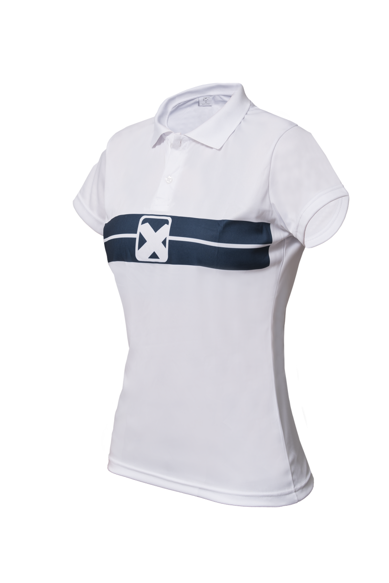 Dames Polo - Wit - Blauw T427
