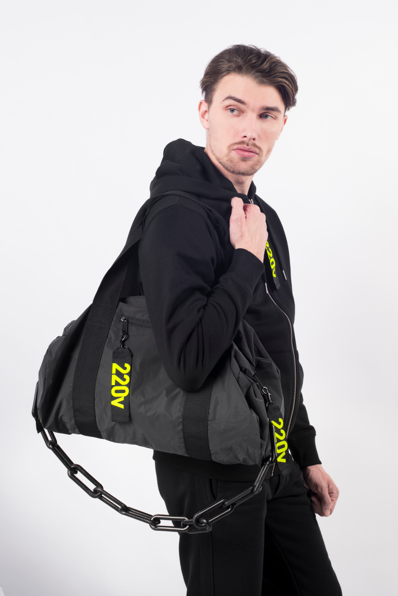220V REFLECTIVE duffle bag - BLACK