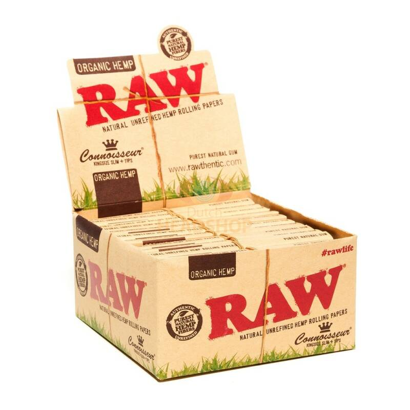 RAW® Organic Connoisseur King Size Slim Box Rolling Papers + Tips