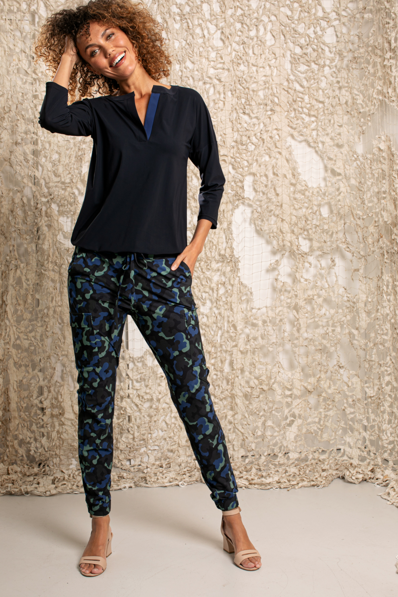 Loose fit cargo camo trousers
